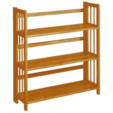 folding bookshelf home decorators collection honey oak folding stacking open bookcase 3323220830 the home depot