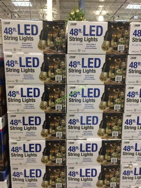 Costco String Lights by Feit Electric 48ft Led String Light Set Black Costcochaser