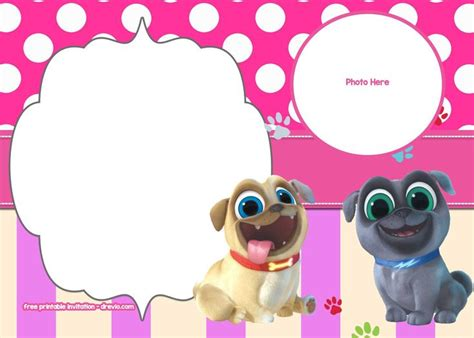 disney puppy dog pals invitation templates monsters