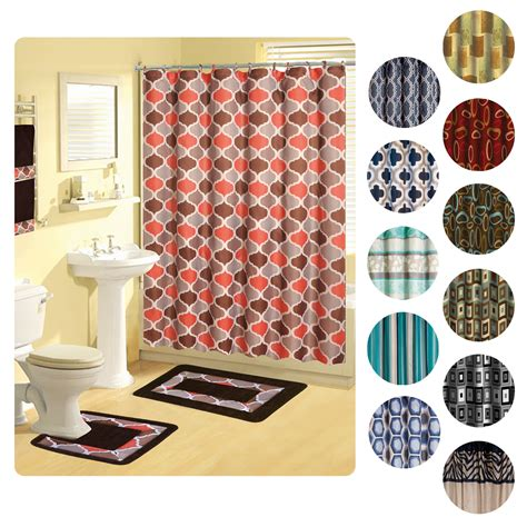 Modern Bathroom Rugs And Towels by Shower Curtains 17 Pcs Set Contemporary Bath Mat Contour