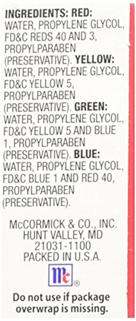 Food Coloring Ingredients by Mccormick Food And Egg Coloring Dye 4 Colors Food
