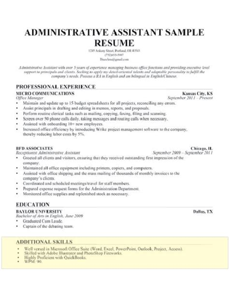 Skill Resume For Administrative Assistant by Skill Resume 21 Resume Template Skill Set Exles Charming Functional With Regard To Skills And