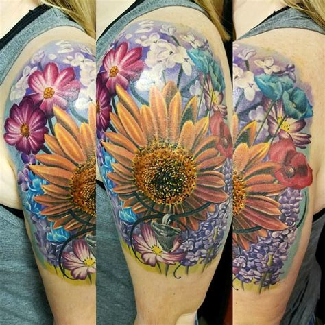 hotrodfloral  sleeve color flowers floral wildflowers halfsleeve girly tattoo girls