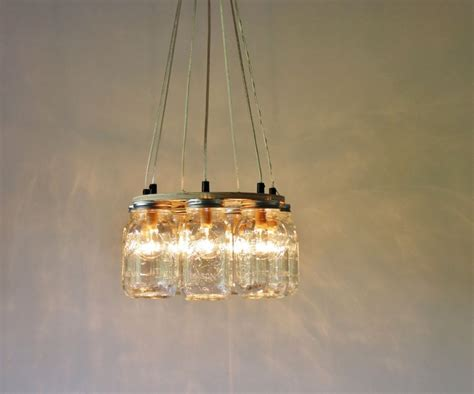 how to upcycle jars into a chandelier