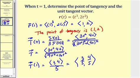 determining  unit tangent vector youtube