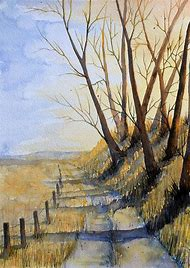 Watercolor Country Roads Autumn Pics