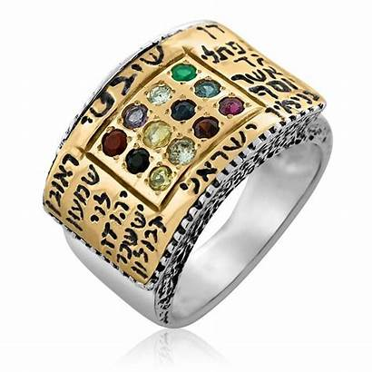 Ring Hoshen Silver 9k Jeweled Gold Tribes