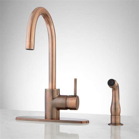 Copper Kitchen Sink Faucet by Henton Kitchen Faucet With Handspray Antique Copper Ebay