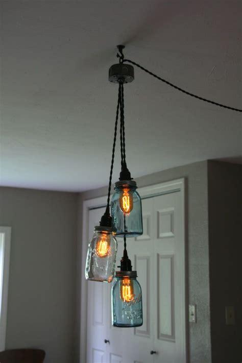 how to hang pendant lights diy 3 jar chandelier swag light mason jar hanging