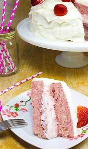 Strawberry Cake (No Jello) with Whipped Cream Cheese Frosting