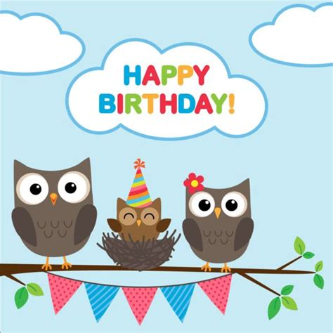 Happy Birthday Owl Images Happy Birthday Card And Owls Vector 01 Free
