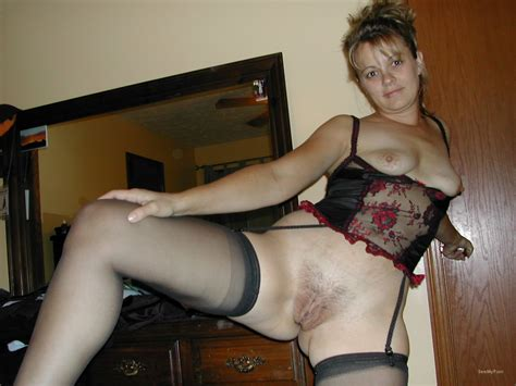 sexy amateur milf showing pussy off while wearing lingerie