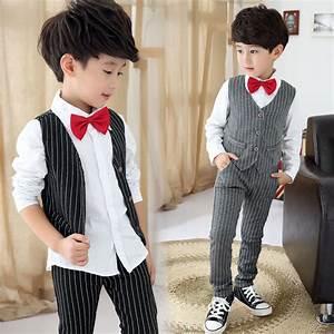 Juinor boys clothing sets boys striped vest+pant+shirt suits formal outfits kids school uniform ...