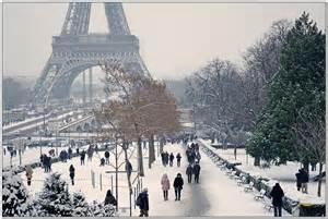 Paris France Winter Snow