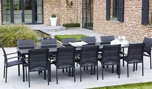 Salon De Jardin 12 Places : salon de jardin 8 ou 12 places table avec 1 grande rallonge plateau en verre aluminium ~ Teatrodelosmanantiales.com Idées de Décoration