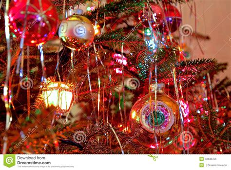 kitsch  style decorated christmas tree stock image
