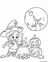 Coloring Witch Halloween Pages Potion Cauldron Cooking Printable Adults sketch template