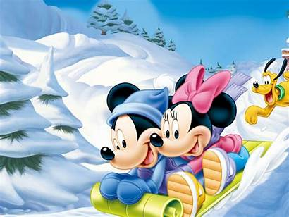 Mickey Mouse Minnie Winter Snow Luge Wallpapers