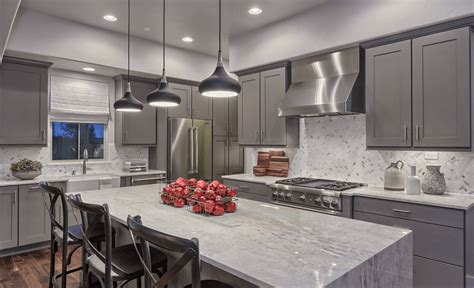 gray kitchen cabinets ideas kitchen design slate gray contemporary kitchen island design with white fantasy quartzite