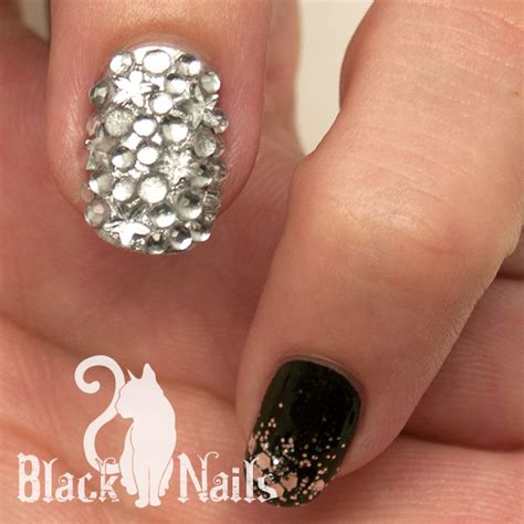 black and silver nail designs black and silver winter nail black cat nails