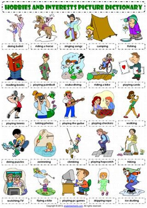 hobbies  interests pictionary poster vocabulary