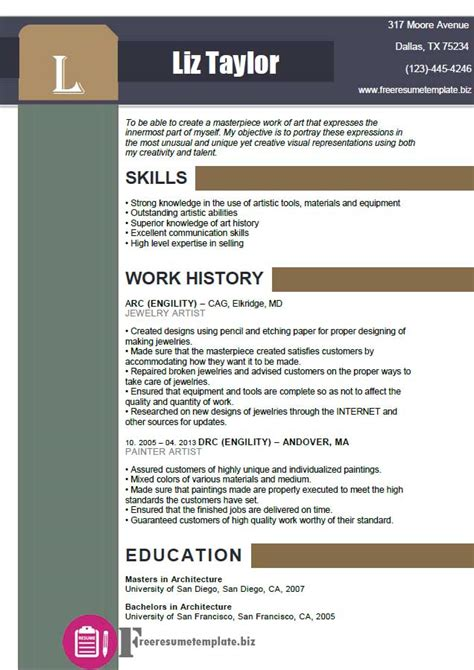 Artist Resume Template by Artist Resume Template Free Resume Templates