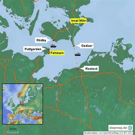 Anreise Zur Insel Mön Von Hakasuro  Landkarte Für Deutschland