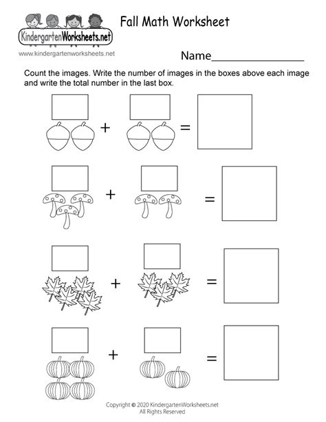 fall math worksheet  kindergarten  printable