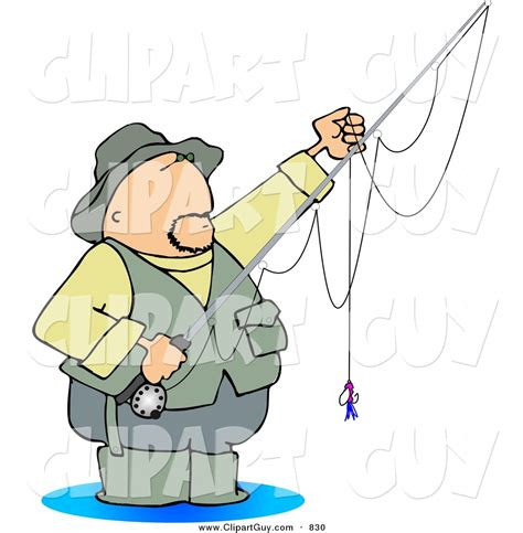 foto de Clip Art of a Sporty Fly Fisherman Standing in Water with