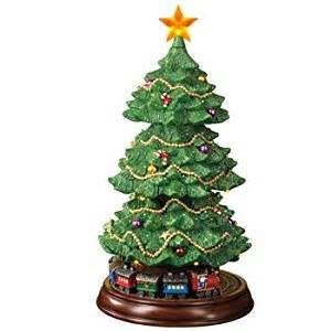 amazon com fiber optic rotating christmas tree with moving train 15 quot tall