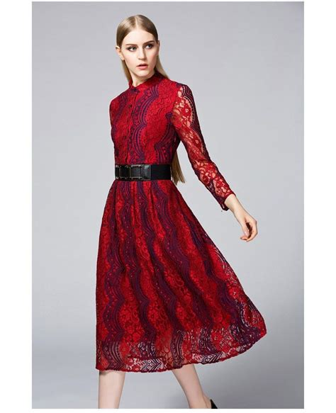 Burgundy Vintage Inspired Lace Midi Dress With Long