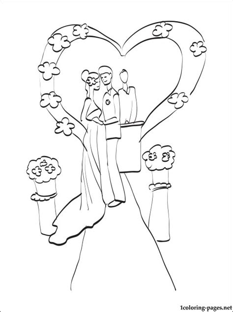 wedding ceremony coloring page coloring pages