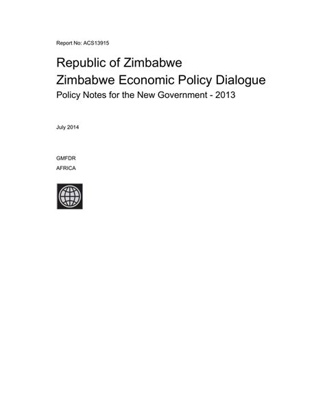 growth and recovery in zimbabwe - Documents & Reports