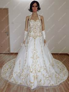 free shipping best quality custom satin bridal gown with With gold embroidered wedding dress