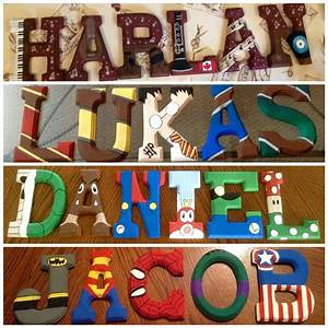 hand painted wooden letters by lianne berube themes With super mario letters