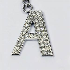 alphabet letter a z bling diamante metal key chain ring With letter keychains silver