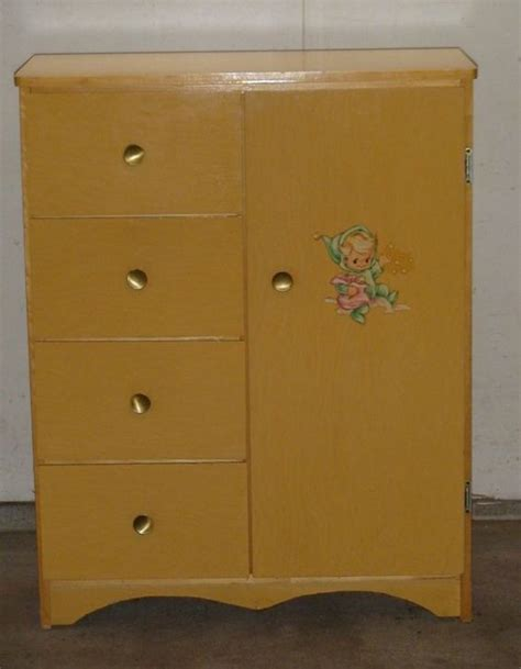 Childrens Wardrobe Armoire by 1950 S 1960 S Nursery Dresser Infants Childs Wardrobe
