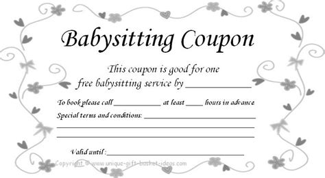 96700 Mimmos Coupons by Free Babysitting Coupon Template Gifts Coupon Template