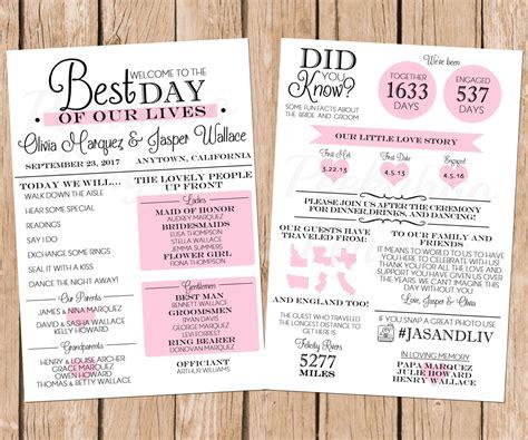 Infographic Wedding Program Fun Wedding Program