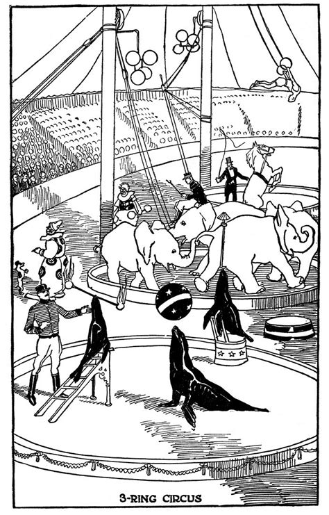 vintage kids printable  ring circus coloring page