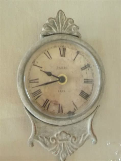 Shabby Chic Pendulum Wall Clock French Grey Antique