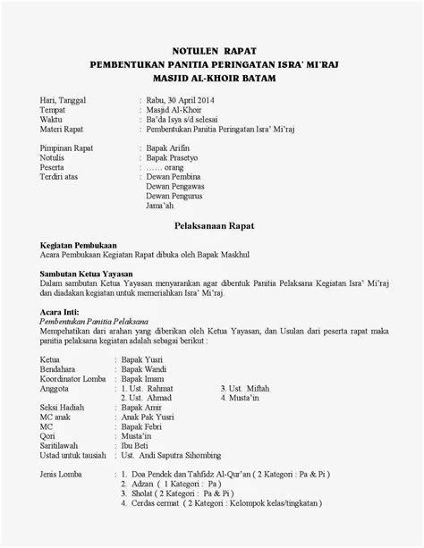 Contoh Dari Notulen Rapat by Masjid Al Khoir Notulen Rapat 30 04 2014