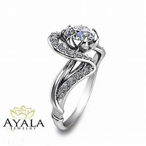 unique design 14k white gold diamond engagement ring With unique white gold wedding rings