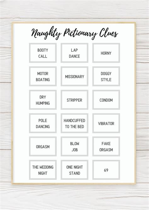 hilariously dirty pictionary words  printable