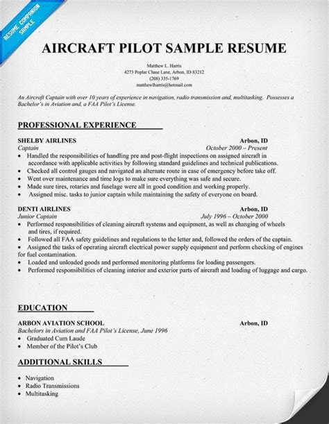 Pilot Resume Format by Pin By Resume Companion On Resume Sles Across All