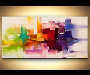 Painting colorful modern abstract art textured painting for Kitchen colors with white cabinets with contemporary abstract canvas wall art