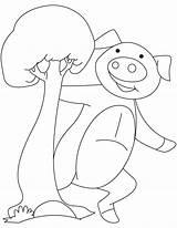 Coloring Piglet Happy sketch template