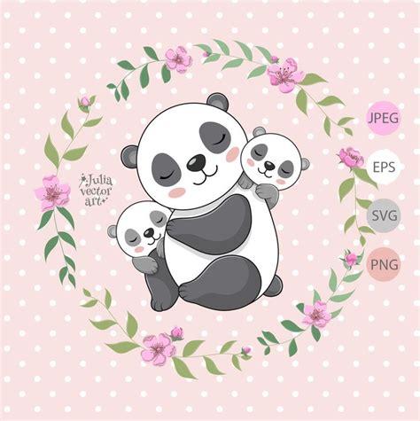 These are released under creative. Panda svg vector mama panda with kids panda clipart panda ...