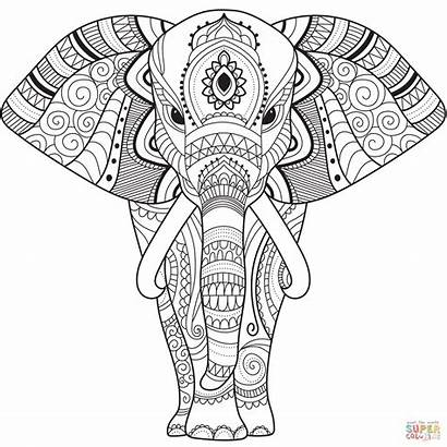 Zentangle Coloring Elephant Mandala Sheets Easy Printable