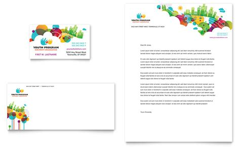 youth program business card letterhead template word